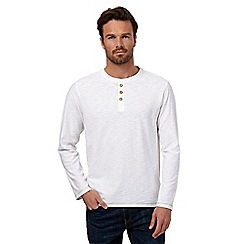 Mantaray - Big and tall white long sleeved grandad top