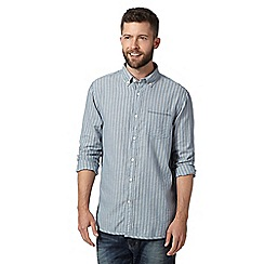 Mantaray - Big and tall blue button down striped shirt