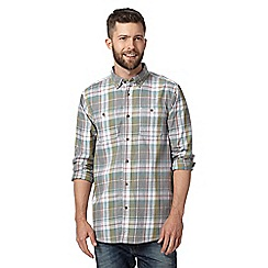 Mantaray - Big and tall grey checked pocket long sleeved shirt