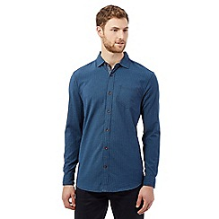 Mantaray - Big and tall dark blue basket weave textured shirt