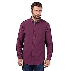 Mantaray - Big and tall purple basket weave textured shirt