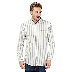 Mantaray - Off white variegated stripe grandad shirt