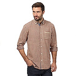 Mantaray - Big and tall red checked button down long sleeved shirt