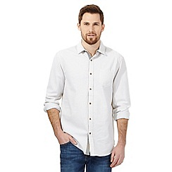 Mantaray - Big and tall off white basket weave long sleeved shirt