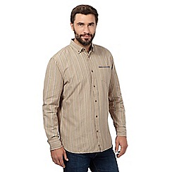Mantaray - Big and tall natural striped long sleeved shirt