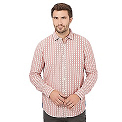 Mantaray - Big and tall pink textured striped long sleeved shirt