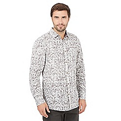 Mantaray - Big and tall white leaf checked long sleeved shirt