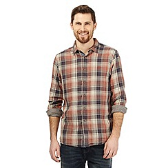 Mantaray - Big and tall light orange checked shirt