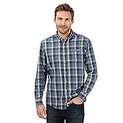 Mantaray - Big and tall blue checked long sleeved shirt