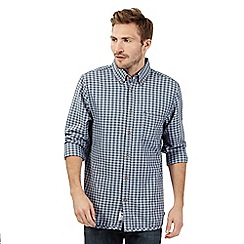 Mantaray - Big and tall blue gingham checked long sleeved shirt