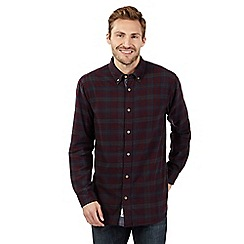Mantaray - Dark blue checked long sleeved shirt