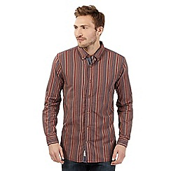 Mantaray - Big and tall dark red striped shirt