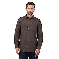 Mantaray - Dark grey textured long sleeved shirt