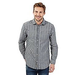 Mantaray - Big and tall navy zip striped shirt