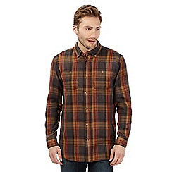 Mantaray - Dark grey checked long sleeved shirt