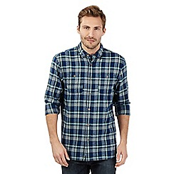 Mantaray - Big and tall blue checked button down shirt