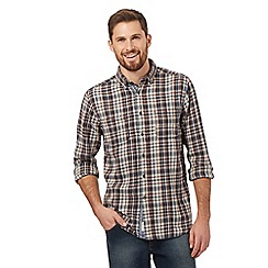 Mantaray - Big and tall natural long sleeved brush checked shirt