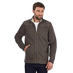 Mantaray - Big and tall light brown pique zip through jacket