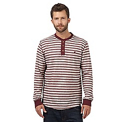 Mantaray - Big and tall dark red striped grandad top