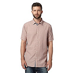 Mantaray - Big and tall wine striped short sleeved shirt