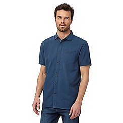 Mantaray - Big and tall blue basket weave textured short sleeved shirt