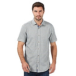 Mantaray - Big and tall navy mini grid checked shirt