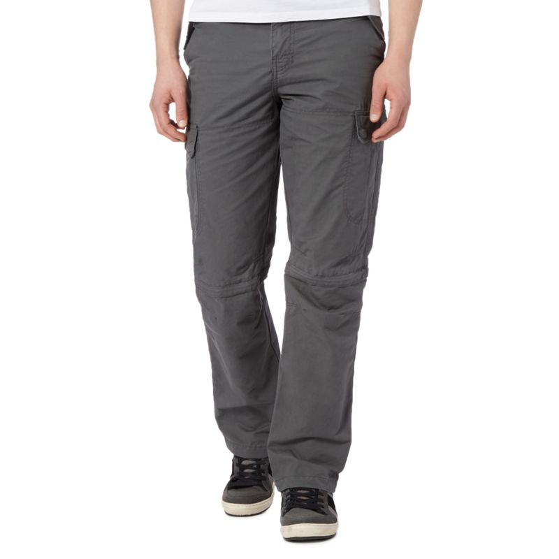 Big and Tall Mantaray Grey Zip Off Leg Cargo Trousers,