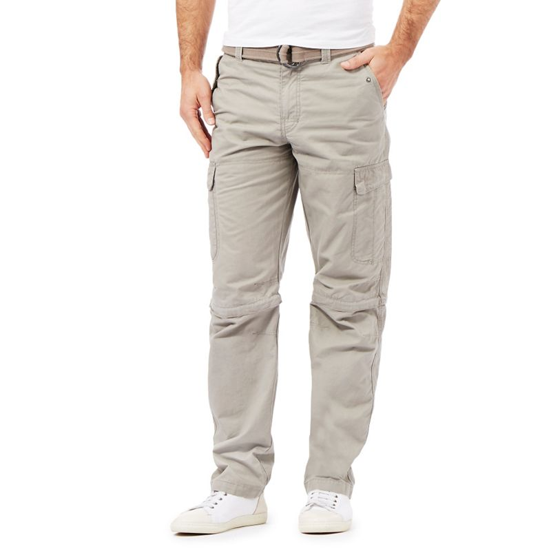 Mantaray Natural Zip Off Leg Cargo Trousers, Mens, Size: 30R