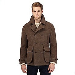 Mantaray - Big and tall brown wool-blend duffle coat