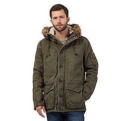 Mantaray - Big and tall khaki canvas parka jacket