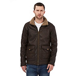 Mantaray - Big and tall dark brown faux leather harrington jacket