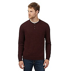 Mantaray - Big and tall burgundy lightweight grandad sweatshirt
