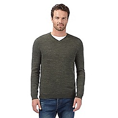 Mantaray - Big and tall dark green herringbone v neck jumper