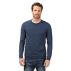 Mantaray - Big and tall navy herringbone crew neck jumper