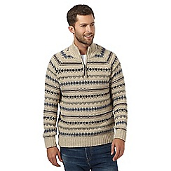 Mantaray - Big and tall natural fairisle striped high neck sweater