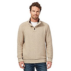 Mantaray - Big and tall beige button neck cable jumper