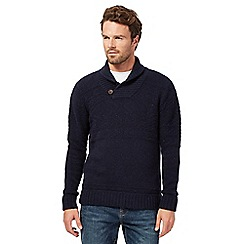 Mantaray - Big and tall navy shawl collar button jumper