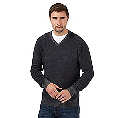 Mantaray - Plaited navy V neck jumper