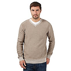 Mantaray - Big and tall natural lightweight v neck jumper