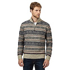 Mantaray - Grey fair isle patterned funnel necked jumper