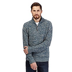 Mantaray - Turquoise twist knit funnel neck jumper