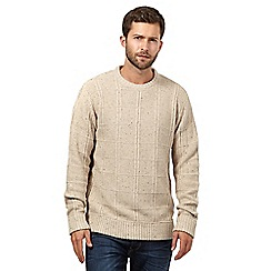Mantaray - Big and tall beige flecked checked knit jumper