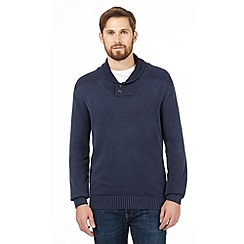 Mantaray - Blue acid wash roll neck jumper