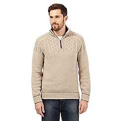 Mantaray - Big and tall beige cable knit zip neck jumper