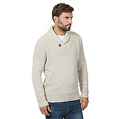 Mantaray - Big and tall white 'frosty' shawl neck jumper