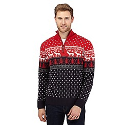 Mantaray - Big and tall red festive sweater