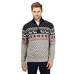 Mantaray - Big and tall grey festive sweater