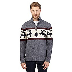 Mantaray - Big and tall grey reindeer sweater