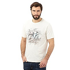 Mantaray - Big and tall off white watercolour bicycle t-shirt