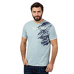 Mantaray - Big and tall light blue textured logo t-shirt